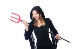 Woman devil with trident Stock Image
