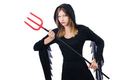 Woman devil with trident Stock Images