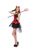 Woman devil with trident Royalty Free Stock Photo