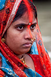 Woman devotee. Female devotee performing rituals in a religious festival in India Stock Photography