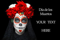 Woman with dia de los muertos makeup. Young woman with dia de los muertos makeup, day of dead, black background, empty space Royalty Free Stock Photo