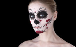 Woman with dia de los muertos makeup, black empty space. Royalty Free Stock Photos