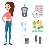 Woman with diabetes. Set of glucometer, injections and healthy diet Stock Photo