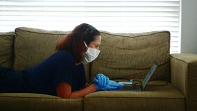 Woman diagnosed as infected in Coronavirus COVID-19 working from home