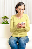Woman dialing browsing chat smartphone Royalty Free Stock Photography