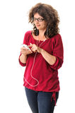 Woman dialing cell phone Royalty Free Stock Photo