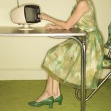 Woman dialing television. Stock Image