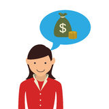 Woman with dialog callout box with bag money. Vector illustration Royalty Free Stock Image