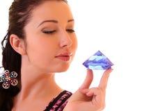 Woman with diamond Stock Photos