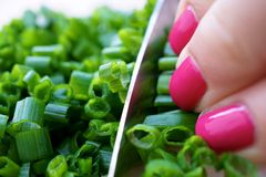 Woman Dicing Fresh Chives Royalty Free Stock Images