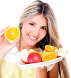 Woman on a diet Royalty Free Stock Image