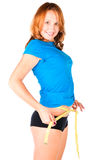 Woman diet concept with measuring tape Royalty Free Stock Photography