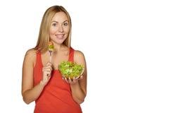Woman diet concept portrait. Female hold salad. Stock Image