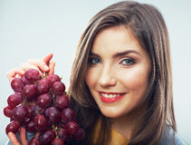 Woman diet concept portrait with grape fruit Royalty Free Stock Image