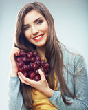 Woman diet concept portrait with grape fruit Stock Image