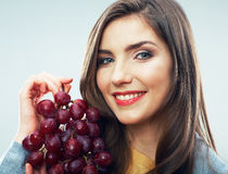 Woman diet concept portrait with grape fruit Stock Images