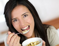 Woman and diet food Royalty Free Stock Images