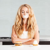 Woman on a diet. Royalty Free Stock Photography