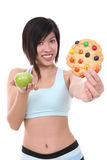 Woman on Diet Making Choice Royalty Free Stock Images