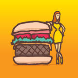 Woman on a diet posing next to a burger Royalty Free Stock Images