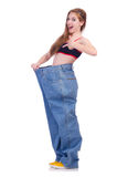 Woman in dieting concept. With big jeans Royalty Free Stock Image