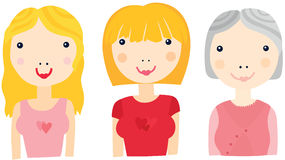 Woman at Different Ages Sequence Royalty Free Stock Photography