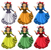 Woman in different color dress Royalty Free Stock Photography
