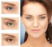 Woman with different color of eyes Stock Images