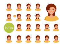 Woman with different emotions. Joy, sadness, anger, talking, funny, fear, smile. Set  illustration on white background Vector Cartoon Flat Face expressions Stock Photos