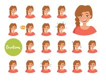 Woman with different emotions. Joy, sadness, anger, talking, funny, fear, smile. Set. Isolated illustration on white. Woman with different emotions. Joy, sadness vector illustration