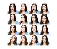 Woman with different expressions Royalty Free Stock Photos