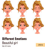 Woman with different face expressions. Young attractive blonde g royalty free illustration