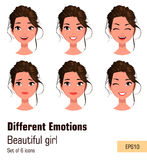 Woman with different face expressions. Young attractive girl with various emotions. Royalty Free Stock Images
