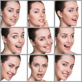 Woman different facial expressions Royalty Free Stock Photos