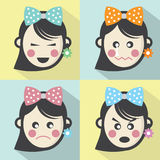 Woman Different Facial Expressions Flat Design Icons Stock Photo