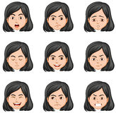 Woman and different facial expressions. Illustration stock illustration