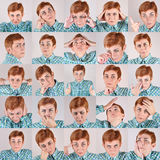 Woman with different facial expressions royalty free stock image
