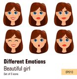 Woman with different facial expressions. Young attractive lady w stock illustration