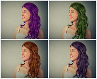 Woman with different hair color Royalty Free Stock Photos