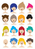 Woman in different hairstyle Royalty Free Stock Image