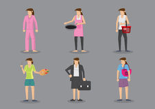 Woman in Different Outfits for Different Roles and Responsibilit Royalty Free Stock Photography