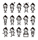 Woman, different poses, icon Stock Image
