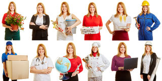 Woman in different positions and professions. Blond woman in different positions and professions smiling Royalty Free Stock Images