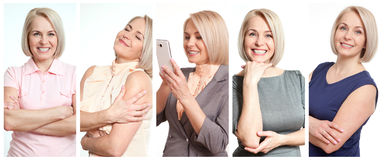 Woman in different situations. Beautiful middle-aged woman in joy collage. Stock Photos