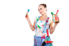 Woman with different tools Royalty Free Stock Photos