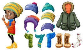 Woman and different winter clothes. Illustration Stock Photos