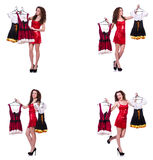 The woman with difficult choice of choosing clothing. Woman with difficult choice of choosing clothing Royalty Free Stock Photography