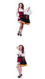 The woman with difficult choice of choosing clothing. Woman with difficult choice of choosing clothing Royalty Free Stock Photo