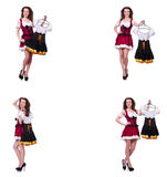 The woman with difficult choice of choosing clothing. Woman with difficult choice of choosing clothing Royalty Free Stock Photos