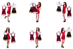 The woman with difficult choice of choosing clothing. Woman with difficult choice of choosing clothing Stock Image